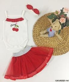 Cherry Tütü Etekli 3'lü Bebek Takım