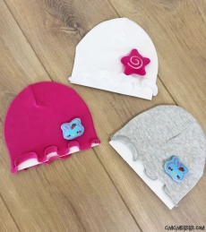 Oyuncaklı 3'lü Kız Bebek Şapka Seti