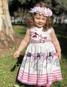 Kelebekli Kemerli Kız Çocuk Elbise
