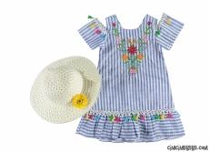 Şapkalı Nakışlı Kız Çocuk Elbise