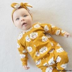 Bulutlu Boneli Kız Bebek Tulum