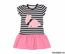 Tavşan Aplikeli Kız Çocuk Elbise