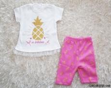 Ananaslı Tül Detaylı Taytlı Bebek Takım