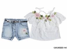 Dantelli Çiçek Nakışlı Kız Çocuk Takım