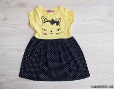 Kedicik Penye Kız Çocuk Elbise