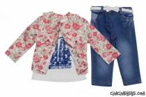 Kot Pantolonlu Çiçekli Ceketli Üçlü Takım