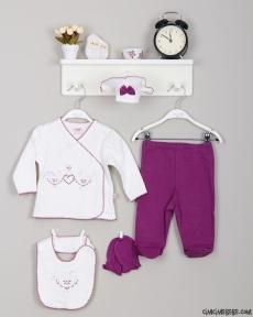 Kalpli Kroşetalı 5'li Bebe Zıbın Seti
