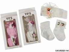 Süslü Kız Bebek Çorap Bandana Seti
