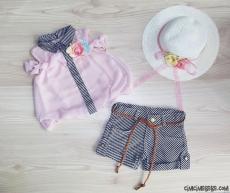 Hasır Şapkalı Şortlu Kız Çocuk Takım