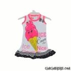 Dondurma Baskılı Fiyonklu Elbise