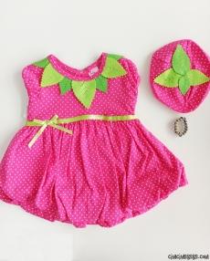 Balon Etekli Çilek Kız Elbise
