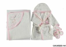 Kuğulu Kız Bebek Bornoz Seti