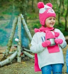 Ponponlu Kız Çocuk Atkı Bere Eldiven Seti