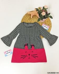 Minik Kedi Kız Çocuk Valon Kollu Elbise