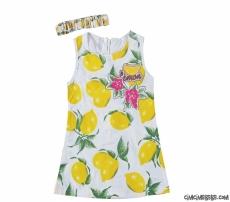 Limon Baskılı Bandanalı Terikoton Kumaş Elbise