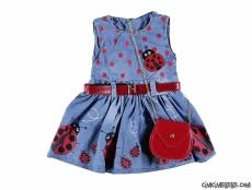 Uğur Böceği Çantalı Kot Elbise