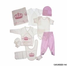 Kraliçe Taçlı 10 Parça Bebek Zıbın Seti