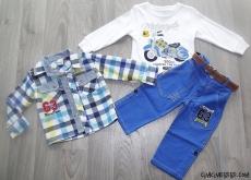Ekose Gömlekli Pantalonlu Erkek Çocuk Takım