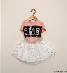 Star Pullu Tüllü Etekli Kız Çocuk Takım
