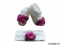 Bandanalı Çiçekli Şık Bebek Ayakkabı