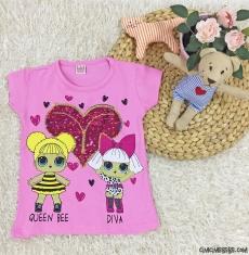Pullu Sürpriz Kız Çocuk T-Shirt