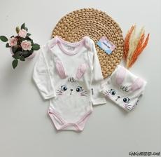 Minik Tavşan Uzun Kollu Bebek Badi