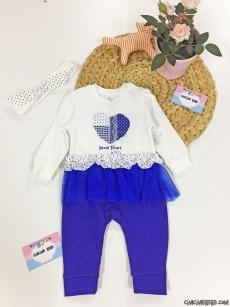 Tütülü Bandanalı Kız Bebek Tulum