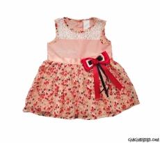 Yakası Dantelli Şifon Bebe Elbise