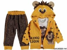 King Lion Hırkalı 3'lü Bebek Takım