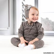 Kalpli Sevimli Şapkalı Bebek Tulum