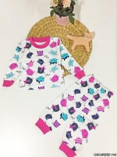 Kedi Baskılı Kız Bebek Pijama Takımı
