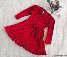 Kız Çocuk Kadife Vintage Elbise