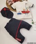 Gemi Desenli Şapkalı Erkek Bebek Takım