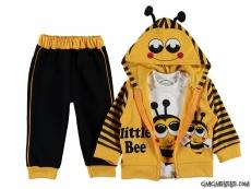 Arı Baskılı Hırkalı 3'lü Bebek Takım