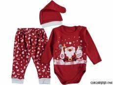 Noel Baba Desenli Şapkalı Badili Bebek Takım