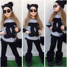 Kürklü Taytlı Şapkalı 4'lü Kız Çocuk Takım