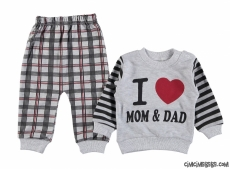 I Love Mom Dad Bebek Pijama Takımı