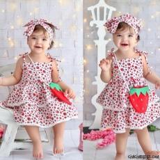 Minik Çilek Kız Çocuk Elbise