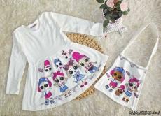 Sürpriz Çantalı Penye Kız Çocuk Elbise