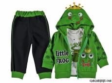 Kurbağa Baskılı Hırkalı 3'lü Bebek Takım