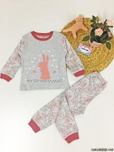 Tavşan Baskılı Kız Çocuk Pijama Takımı