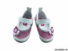 Çiçekli Ekoseli Bebek Ayakkabı