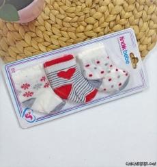 Kalpli Kız Bebek 3'lü Çorap Seti