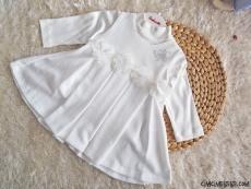 Badili Çiçekli Petek Desenli Elbise