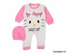 Sweet Cat Şapkalı Bebek Tulum