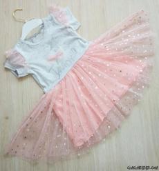 Tülleri Yıldızlı Kız Çocuk Elbise