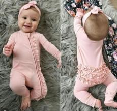 Bandanalı Fırfır Detaylı Kız Bebek Tulum