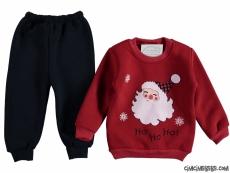 Noel Baba Desenli İçi Şardonlu Bebek Takım