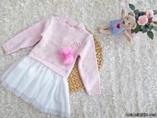 Triko Eteği Tüllü Kız Çocuk Elbise