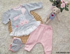 Minik Tavşan Dantelli 3'lü Bebe Takımı